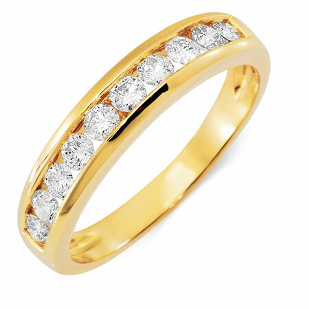 Wedding Band with 1/2 Carat TW of Diamonds in 18ct Yellow Gold