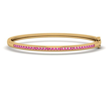Bangle with Created Ruby in 10ct Yellow Gold
