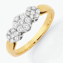 Online Exclusive - Engagement Ring with 1/2 Carat TW of Diamonds in 18ct Yellow & White Gold