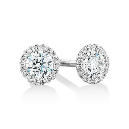 Sir Michael Hill Designer Fashion Earrings with 0.95 Carat TW of Diamonds in 18ct White Gold