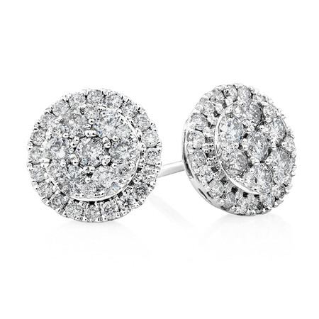 Cluster Earrings with 1.0 Carat TW of Diamonds in 10ct White Gold