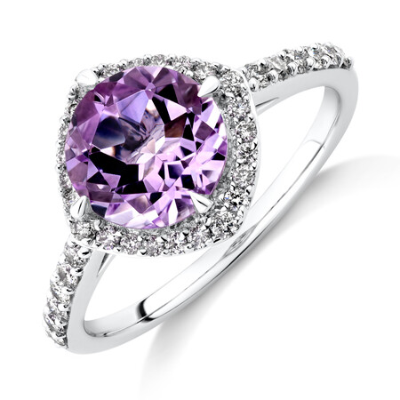 Halo Ring with Amethyst & 0.34 Carat TW of Diamonds in 10ct White Gold