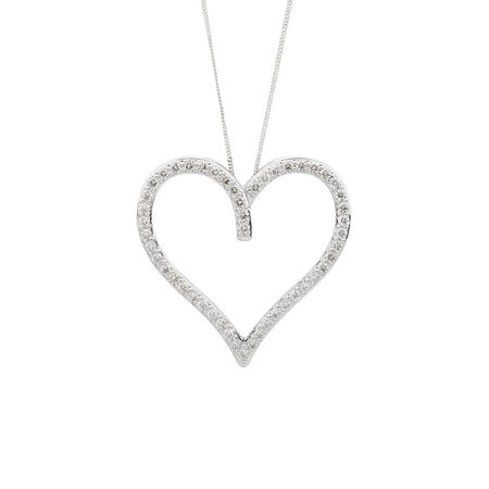Online Exclusive - Heart Pendant with 1 Carat TW of Diamonds in 10ct White Gold