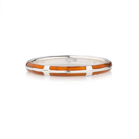 Online Exclusive - Stacker Ring with Orange Enamel in Sterling Silver
