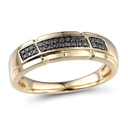 Ring with 0.16 Carat TW of Enhanced Black Diamonds in 10ct Yellow Gold
