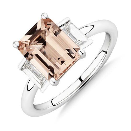 Sir Michael Hill Designer Emerald Cut Engagement Ring with Morganite & 0.48 Carat TW of Diamonds in 18ct White Gold
