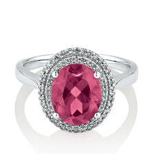 Ring with Created Pink Sapphire & 0.20 Carat TW of Diamonds in 10ct White Gold