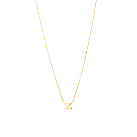 """Z"" Initial Necklace in 10ct Yellow Gold"