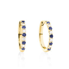 Huggie Earrings with Natural Sapphire & 0.20 Carat TW of Diamonds in 10ct Yellow Gold
