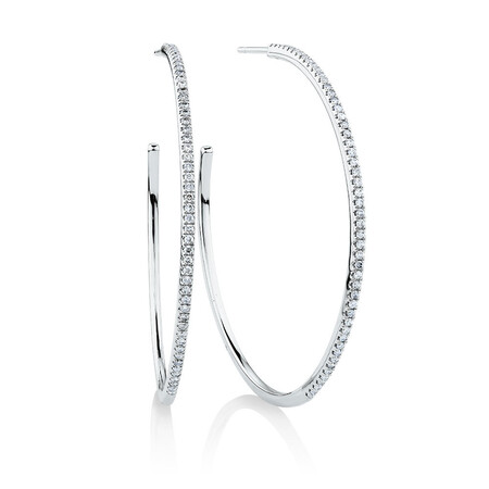 Large Open Hoop Earrings with 0.80 Carat TW of Diamonds in 10ct White Gold