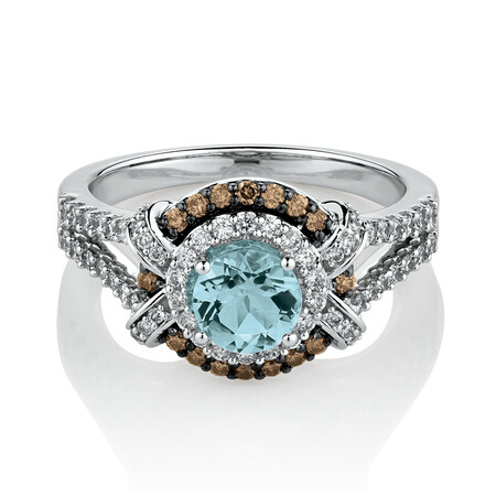 Ring with Aquamarine & 0.58 Carat TW of White & Brown Diamonds in 14ct White Gold