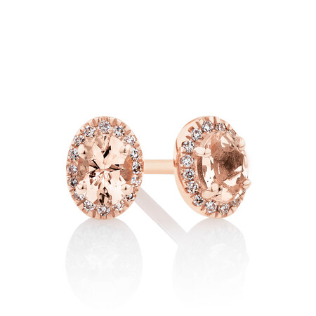 Halo Stud Earrings with Diamonds & Morganite in 10ct Rose Gold