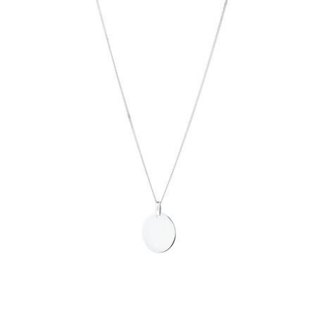 Large Oval Disc Pendant in 10ct White Gold