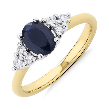 Ring with Diamonds & Blue Sapphire In 10ct Yellow & White Gold