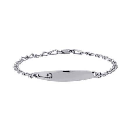 "14.5cm (6"") Baby Identity Bracelet with a Pink Cubic Zirconia in 10ct White Gold"