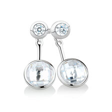 Earrings & Enhancer Set with Cubic Zirconia in Sterling Silver