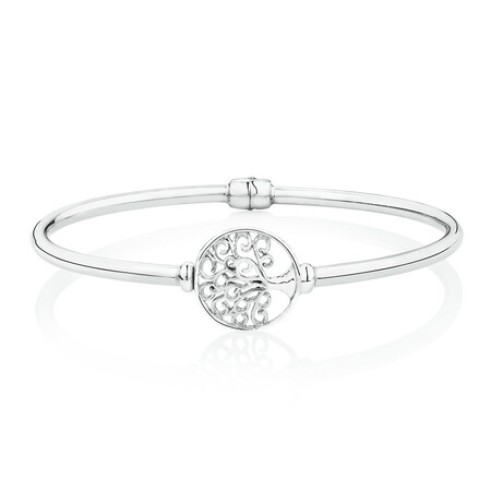 Tree of Life Hinged Bangle in Sterling Silver