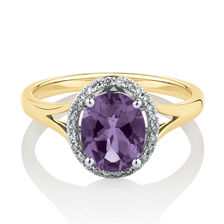 Oval Ring with Diamonds & Amethyst in 10ct Yellow & Whte Gold