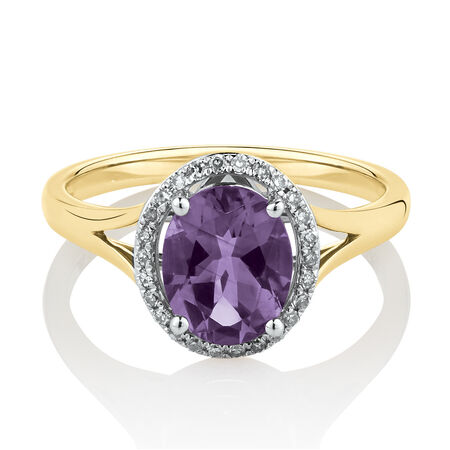 Oval Ring with Diamonds & Amethyst in 10ct Yellow & White Gold