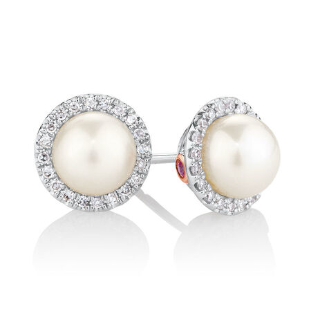 Earrings with 0.13 Carat TW of Diamonds, Pink Sapphires & Cultured Freshwater Pearls in 10ct Rose & White Gold