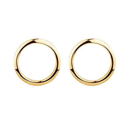 Open Circle Stud Earrings in 10ct Yellow Gold | Tuggl