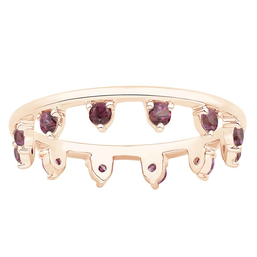 Zipper Ring with Rhodolite Garnet in 10ct Rose Gold