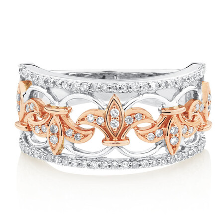 Filigree Ring with0.33 Carat TW of Diamonds in 10ct Rose and White Gold