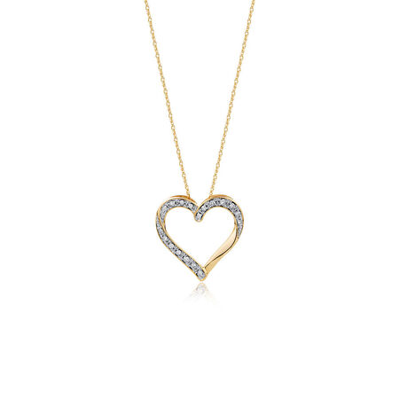 Online Exclusive - Heart Pendant with 0.15 Carat TW of Diamonds in 10ct Yellow Gold
