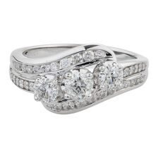 Online Exclusive - Three Stone Ring with 1 Carat TW of Diamonds in 10ct White Gold