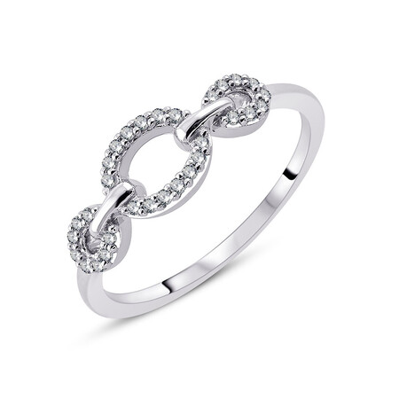 Link Ring with 0.13 Carat TW of Diamonds in 10ct White Gold