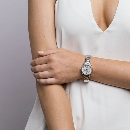 Ladies Watch with Diamonds & Mother of Pearl in Stainless Steel