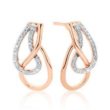 Teardrop Earrings with Diamonds in 10ct Rose Gold