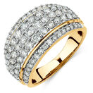 Five Row Ring with 1 3/4 Carat TW of Diamonds in 14ct Yellow Gold