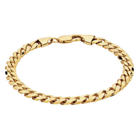 "21cm (8.5"") Men's Curb Bracelet in 10ct Yellow Gold"