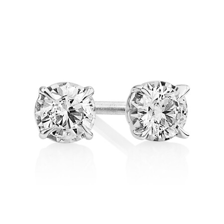 Stud Earrings with 0.40 Carat TW of Diamonds in 10ct White Gold