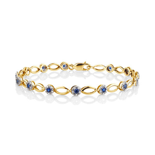 Bracelet with Created Sapphire & 0.25 Carat TW of Diamonds in 10ct Yellow Gold