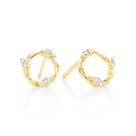 Willow Stud Earrings With Diamonds In 10ct Yellow Gold