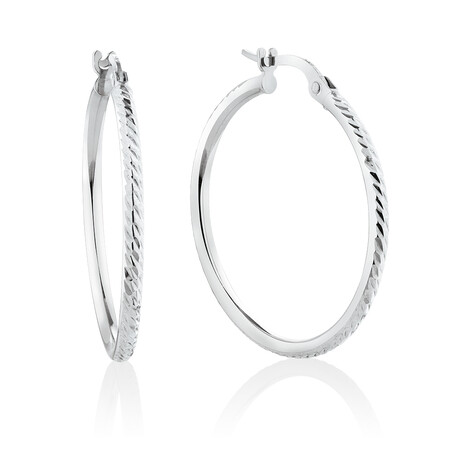 Patterned Hoop Earrings in 10ct White Gold