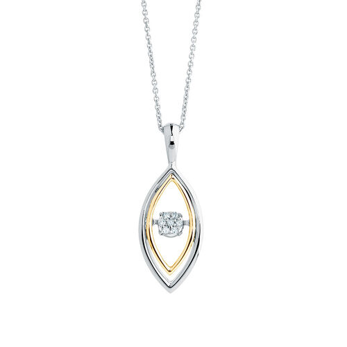 Everlight Pendant with Diamonds in Sterling Silver & 10ct Yellow Gold