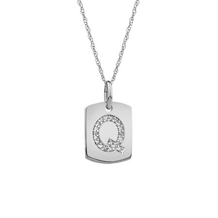 """Q"" Initial Rectangular Pendant With Diamonds In 10ct White Gold"