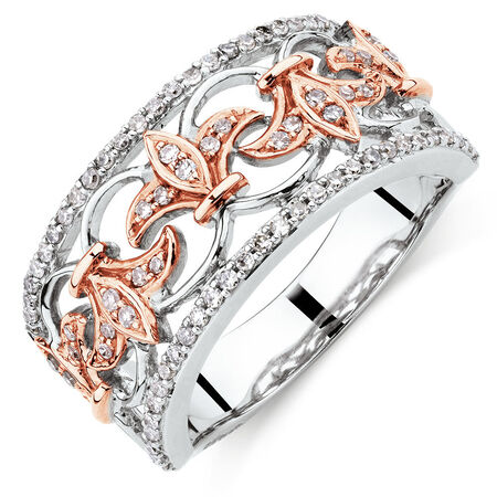 Filigree Ring with 0.33 Carat TW of Diamonds in 10ct Rose and White Gold