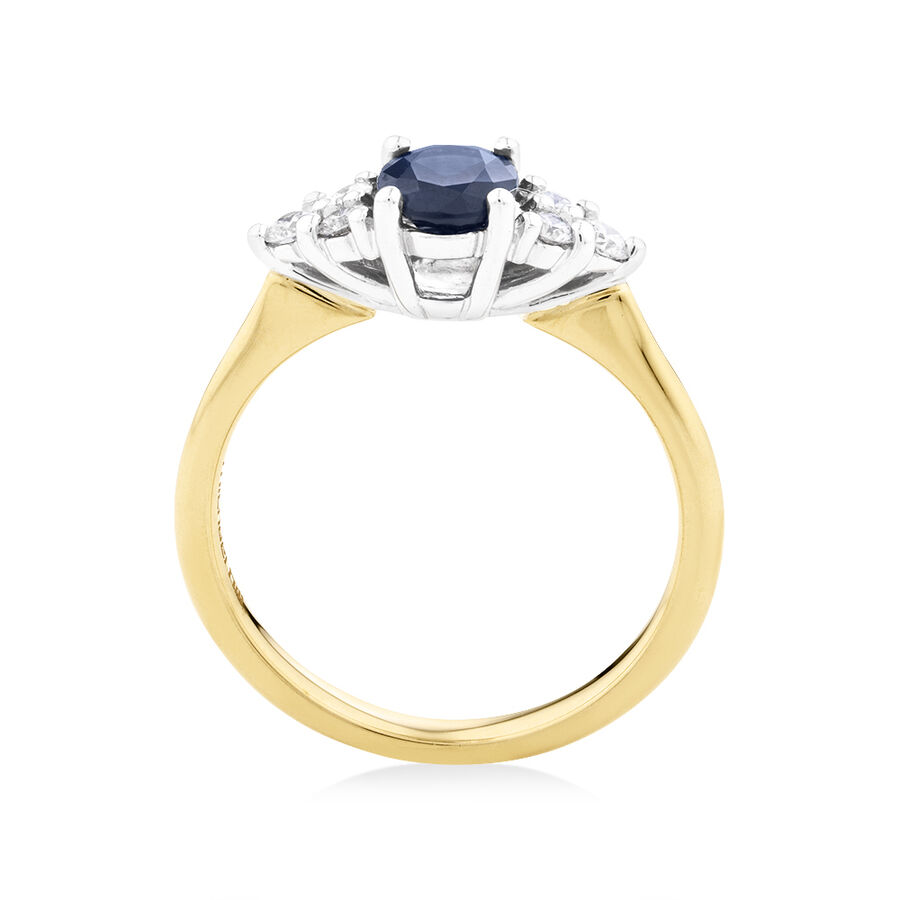 Ring With Diamonds And Blue Sapphire In 10ct Yellow And White Gold