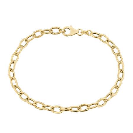 Oval Belcher Bracelet in 10ct Yellow Gold