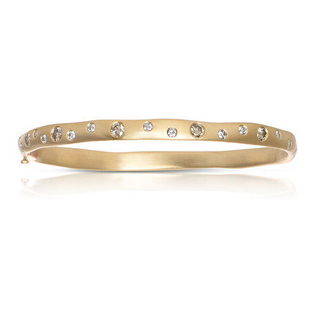 Bangle with 0.90 Carat TW of White & Brown Diamonds in 14ct Yellow Gold
