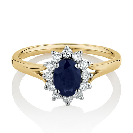 Cluster Ring with Created Sapphire & 0.25 Carat TW of Diamonds in 10ct Yellow & White Gold