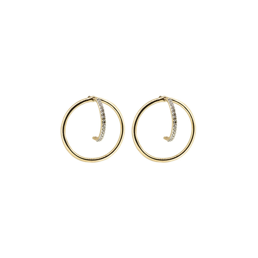 Circle Stud Earrings with Diamonds in 10ct Yellow Gold