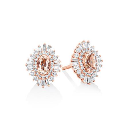 Earrings with Morganite & 0.50 Carat TW Of Diamonds in 10ct Rose Gold