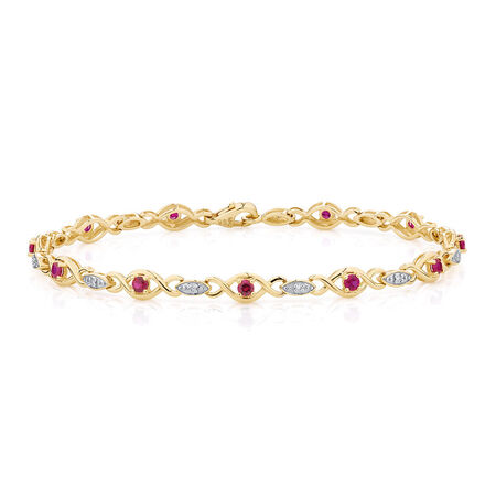 Bracelet with Created Ruby & Diamonds in 10ct Yellow & White Gold