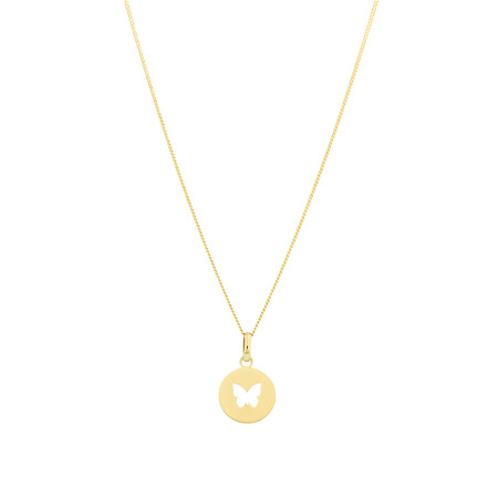 Circle Butterfly Pendant in 10ct Yellow Gold