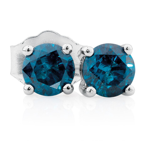 Online Exclusive - Stud Earrings with 0.46 Carat TW of Enhanced Blue Diamonds in 10ct White Gold